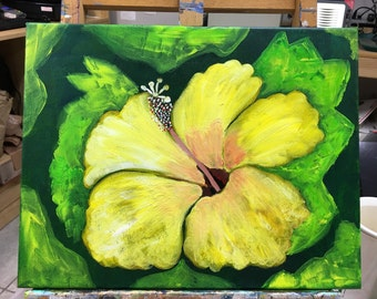 Key West Yellow Hibiscus Flower On 11 x 14 Canvas