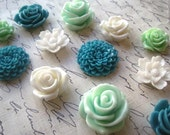 Magnets, 12 pc Flower Magnets, Mint Green, Teal, White Kitchen Decor, Housewarming Gifts, Wedding Favors