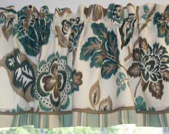 Teal Brown Cream Braemore Floral Toile Valance 17 X 54 Drapery Weight Curtain
