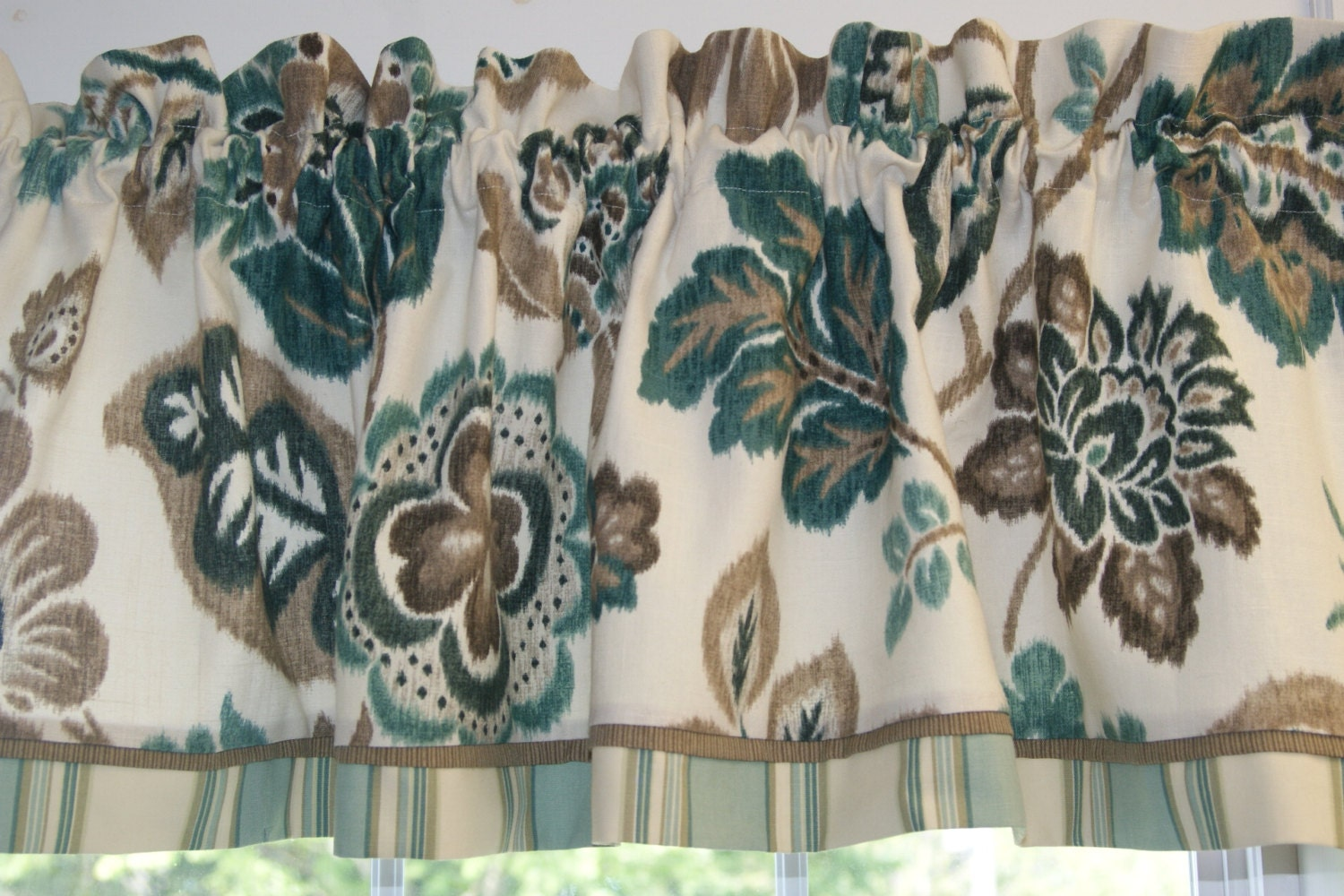 Teal Brown Cream Braemore Floral Toile Valance 17 X 54 Drapery