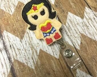 Wonder Woman Badge Reel, Badge Clip, Retractable Name Badge, ID Holder, Teacher ID Clip, Badge Pull