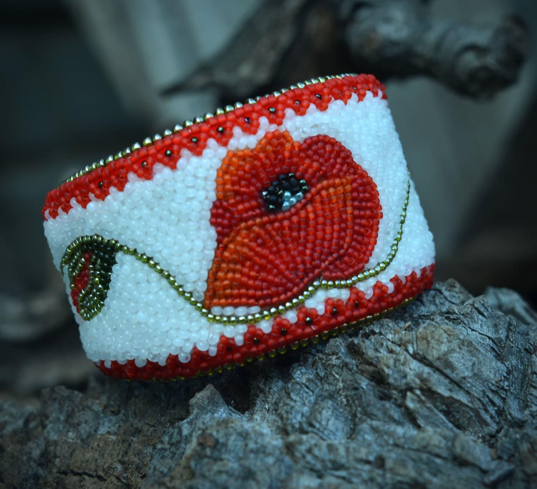 White bead embroidered bracelet beaded by suzidesign