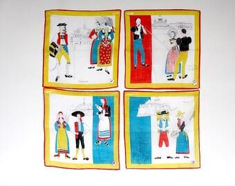 Vintage Handkerchiefs - Switzerland Souvenir - Swiss Handkerchiefs - Swiss Folk Costumes - Vintage Hanky Set - Promotional Handkerchiefs