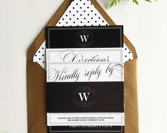 Black and white | Classic Wedding Invitation | Deposit to get started