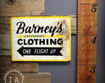 Vintage Barney's Enterprises Clothing Metal Advertising Sign Double Sided