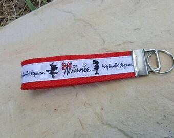 Wristlet keychain, key fob wristlet, wrist keychain, wristlet, Minnie Mouse wristlet. Minnie, Minnie Mouse