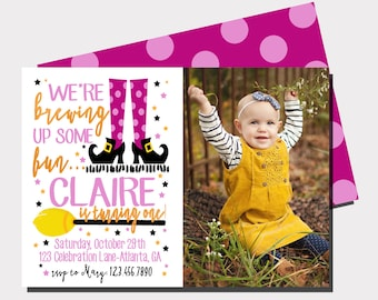 Witch Birthday Invitation | Halloween Birthday Invitation | Halloween Party | Fall Birthday Invitation | First Birthday |Brewing Up Some Fun