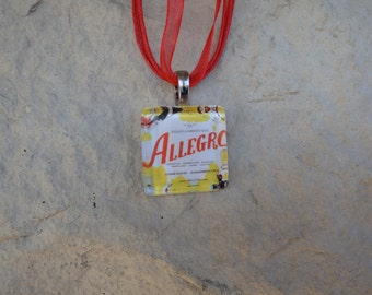 Broadway Musical Allegro Glass Pendant and Ribbon Necklace