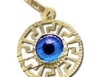 14K Gold Greek Evil Eye Pendant Style 362