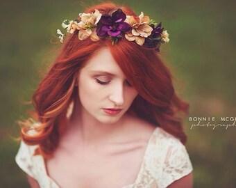 "Rustic Flower Crown ""Nadine"", Photography Prop, Bridal Crown"