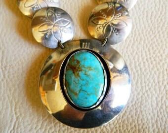 Vintage Concho Necklace, Southwest Concho Necklace, Vintage Turquoise Pendant, Silver Concho, Vintage Concho, Native American Concho