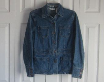 Vintage Long Denim Jacket, Stretch Denim Coat, Womens Small, Hipster Light Weight Jacket, Casual Coat