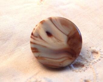 Caramel and White Slag Glass  Button