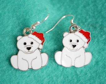 Christmas polar bear earrings