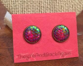 10mm Bronze Metallic Dark Pink Mermaid Skin Stud Earrings