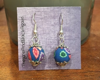 Multicolored Flowers on Blue Clay Bead Earrings