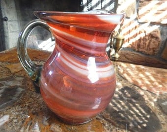 Murano Pitcher - Art Glass Red Swirl Water Pitcher - T519