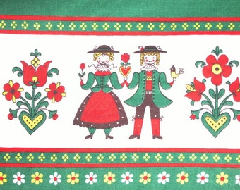 Vintage tablecloth with man & woman border Scandinavian green red wite
