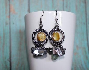 Funky Shell Earrings - Beaded Earrings - Stone Dangle Earrings - Chandelier Stone Earrings - Faux Shell Bead Earrings - Glass Dangles