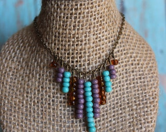 Beaded Chevron Arrow Necklace - Tribal Beaded Fan Necklace - Turquoise and Purple Beaded Boho Necklace - Gypsy Beaded Arrow Necklace