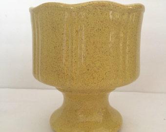 Vintage Mid Century Yellow Pedestal Planter Pot