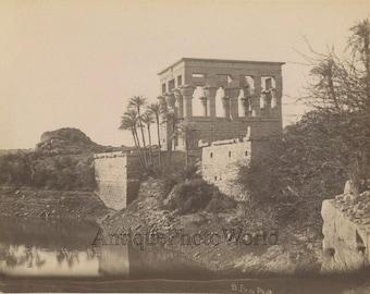Hypaethral temple of Philae Egypt antique albumen photo by Sebah
