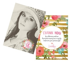 Graduation Photo Thank You Card Gold Glitter Floral - Digital File or Printed Thank yous Class of 2016 Watercolor Thank You Graduate