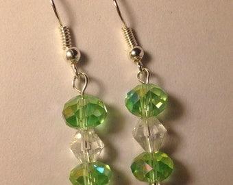 Green Glass Drop Earrings