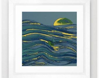 Afloat in Blue / Color Art Print / Digital Painting Fine Art Archival Print
