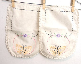 Vintage Embroidered Butterfly Linens // vintage hand-stitched embroidery // white yellow purple