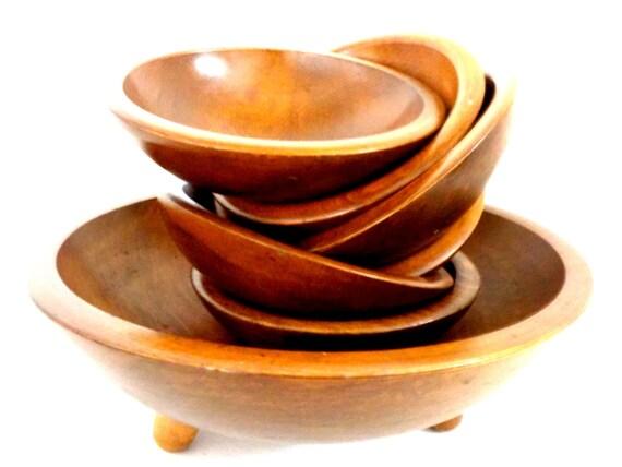 Vintage Wooden Salad Set, Large Wooden Salad Serving Bowl, 6 Salad Bowls, 7 pc Set, Hand Turned Wooden Salad Set, Gorgeous Rich Wood Grain