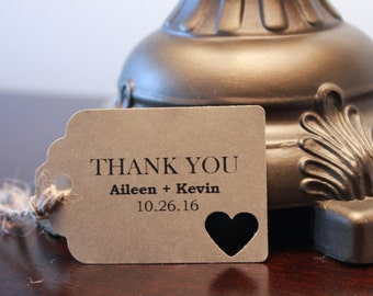 10 Pre-Strung and Custom Wedding Thank You Favor Tags (Thank You, Couple's Names, and Wedding Date)