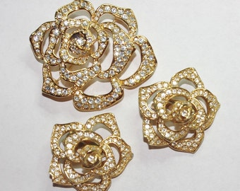 Elizabeth Taylor Pin Set -  Rose Brooch and Earrings  - Gold Plated with Crystals - S1930