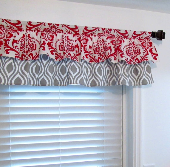 Red And Gray Kitchen Curtains: SALE Two Tiered Red Gray Curtain Valance Bathroom/