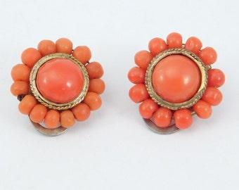 Antique Salmon Coral Italian 800 Silver Earrings