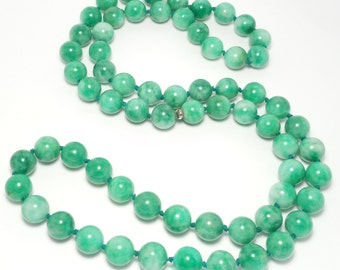 Large mm Estate Knotted Green Quartz Beads 12Mm