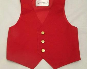 Red Boy's Vest - Red Vest for Boys Valentine, Red Wedding Vest, Red Ringbearer Vest, Red Birthday Vest, Baby Boy Red Vest, Red Toddler Vest