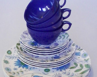 Vintage Dinnerware Set for 4 Summer Blues and Bells