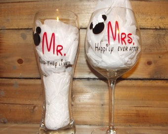 Disney Glasses for the Bride and Groom,,,,Engagement or wedding
