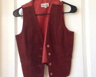 Vintage Harmal New York Suede leather button up vest M