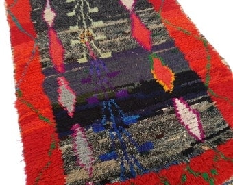 """59""""X41"""" Vintage Moroccan rug woven by hand from scraps of fabric / boucherouite / boucherouette"""