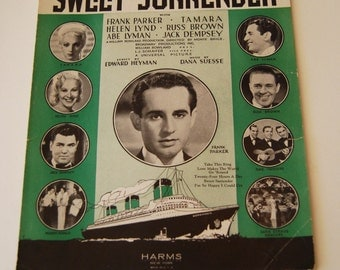 Vintage Sheet Music, Sweet Surrender, 24 Hours a Day