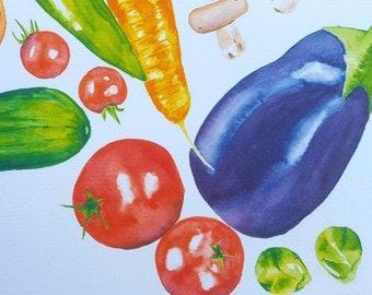 Print of Watercolor Vegetable Painting
