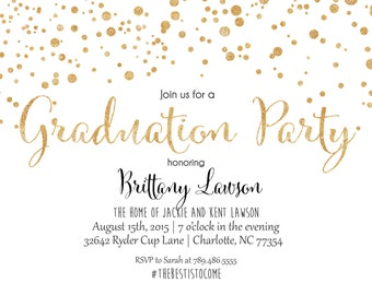 Graduation Party Invitation, Glitter Graduation.  Confetti  Graduation Birthday Party Printable Invitation
