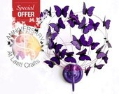 "Wall lamp with paper butterflies ""Deep Purple"""