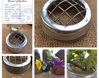 Galvanized Flower Frog Mason Jar Lid