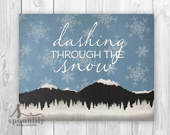 Dashing through the snow Christmas Art Print, Winter wall art, Seasonal decor poster, Holiday Decor, Dashing through the snow Poster