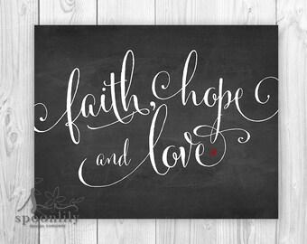 Typography Art Print, Faith Hope and Love Bible Verse Art, Valentine Print, Wedding Anniversary Gift, Scripture Home Decor