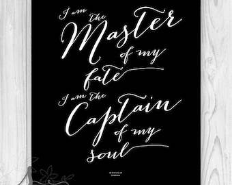 I am the Master of My Fate Typography Quote, Extract from Invictus quote, Typography Quote, Invictus Wall Art, Typography Wall Art Print