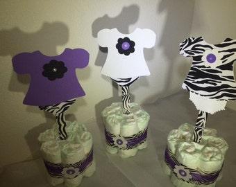 Baby Shower mini diaper cake centerpiece zebra print